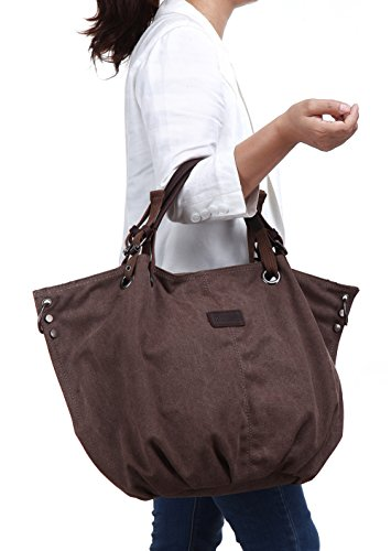MONHINTY, Borsa tote donna, Greyish White (bianco) - MHT2011GW Coffee Brown