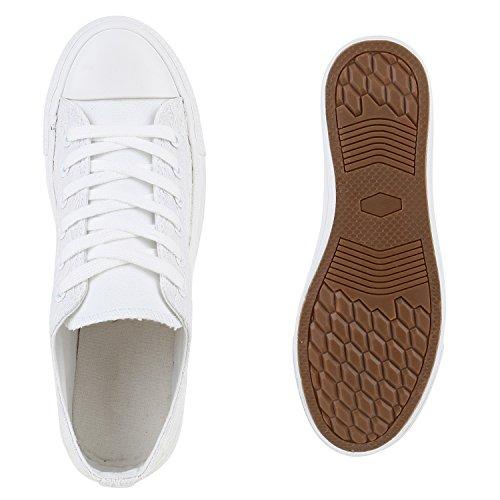 Damen Schuhe Sneakers | Turnschuhe Freizeitschuhe | Low Sneaker | Übergrößen | Prints Glitzer Denim Weiss Muster Camiri