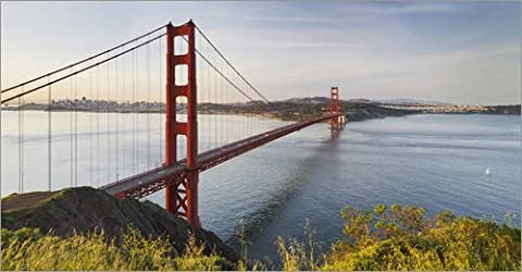Poster 80 x 40 cm: United States of America, Golden Gate Bridge by Rainer Mirau / Mauritius Images - high quality art print, new art poster