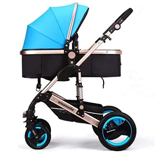 YXJ Hohe Landschaft Neugeborenes Kombikinderwagen Kinderwagen Kann Sich hinsetzen hinlegen Fold Shock Avoidance Vier Runden Zwei-Wege-Implementierung Vier Jahreszeiten verfügbar für 0-3 Kinder,Blue