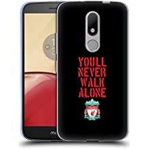 Official Liverpool Football Club Stencil Black Crest You'll Never Walk Alone Soft Gel Case for Motorola Moto M