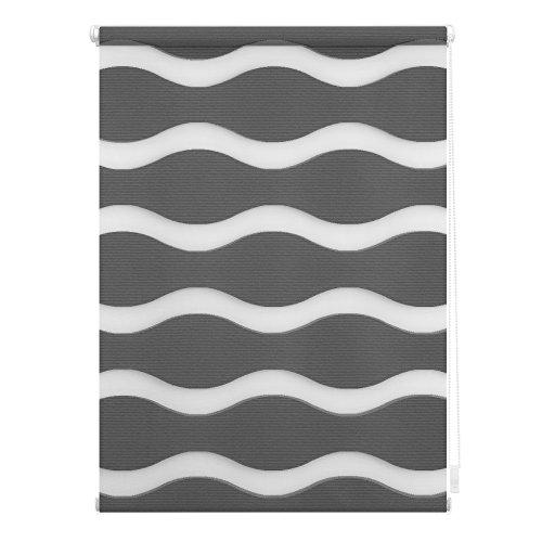 Lichtblick Duo-Rollo Welle Klemmfix, 45 cm x 150 cm (B x L) in Anthrazit, ohne Bohren, Doppelrollo mit Jalousie-Funktion, dekorativer Sonnen- & Sichtschutz, für Fenster & Türen