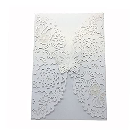 ROSENICE 10pcs Wedding Party Invitations Cards with Laser Cut Butterfly Flower (White)