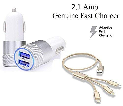 BLUE DIAMOND Metal Dual USB Port Universal 2 Ampere Fast Car Charger with Fiber 3 in 1 USB Charging Cable Compatible with Xiaomi, Lenovo, Apple, Sony