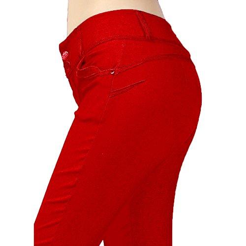 Highdas Slim Fitness Donne Hip Push Up pantaloni elastici sexy tessuto panno matita della mutanda Stretch Pantaloni a sigaretta Rosso