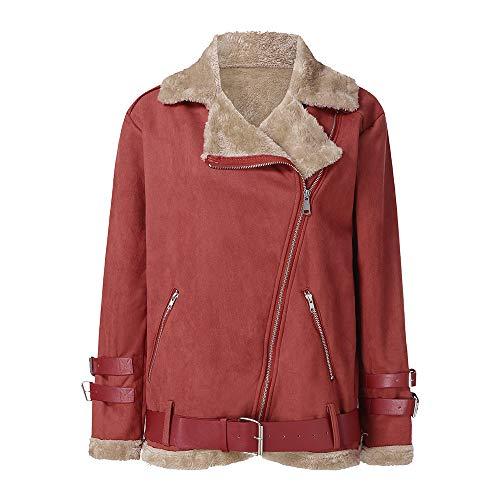(BHYDRY Winter Frauen Faux Pelz Fleece Mantel Outwear Warmer Revers Biker Motor Aviator Jacke(EU-42/CN-XL,Rot))