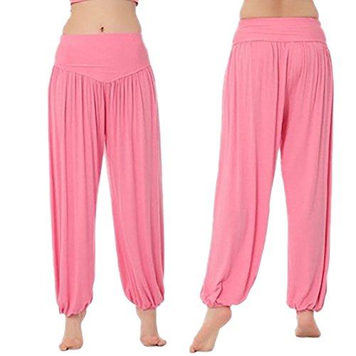 iBaste Super Doux Spandex Modal Pantalon Sarouel Bouffant Elastique Extensible Harem Yoga Pilates Femme Rose