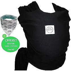 Écharpe de portage BEBE CALIN, Porte-bébé de qualité et multifonctionnel - OFFERT: Bavoir 100% coton - Echarpe de portage confortable pour bébés et nouveau-nés. Inclus son sac de rangement. (NOIR)