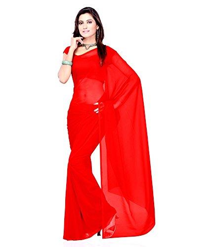 Sse Faux Georgette Saree (Plain_29_Red)