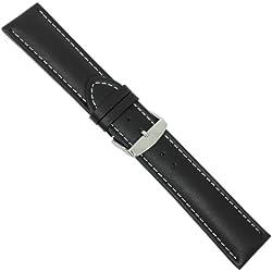 "Uhrbanddealer 22mm XL Ersatzband Uhrenarmband ""Chrono XXL"" Kalb Leder Band Extra Lang Schwarz 1648225s"