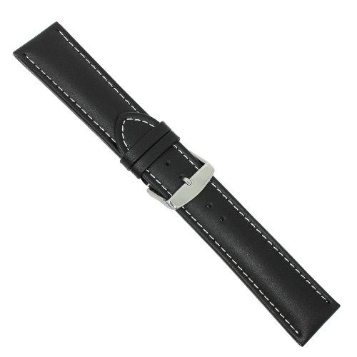 Uhrbanddealer Herren Uhrenarmband Chrono XXL Leder 22mm Extra Lang Schwarz Weiße Kontrastnaht 1648225s