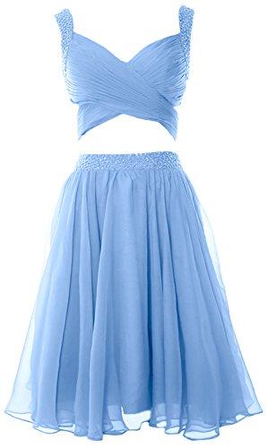 MACloth Women 2 Piece Prom Homecoming Dress Mini Chiffon Formal Evening Dress Himmelblau