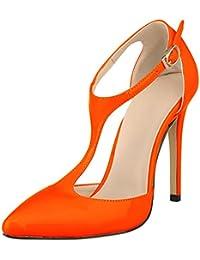 wealsex Escarpins Sandales Salomé Cuir Vernis Femme Brides Cheville Boucles  Bout Pointu Talon Haut Aiguilles Sexy Chaussure Elégant… 4b83006ac51b