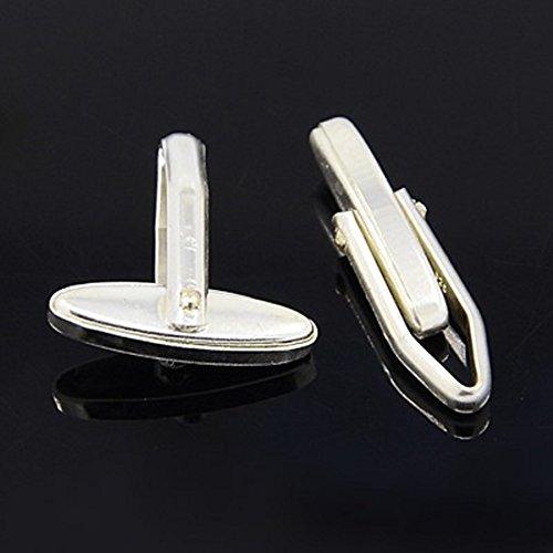 1Coppia in argento Sterling set per gemelli fai da te 18X 6mm per bricolage fai da te, colore platino