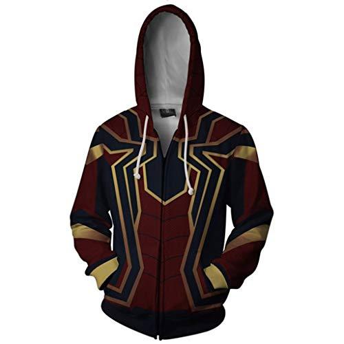 YKJL Eisenspinne 3D Hoodie Halloween Cosplay Spider-Man Kostüm Marvel Movie Fans Sweatshirt Langarm Bekleidung für die Arbeit,Rot,L