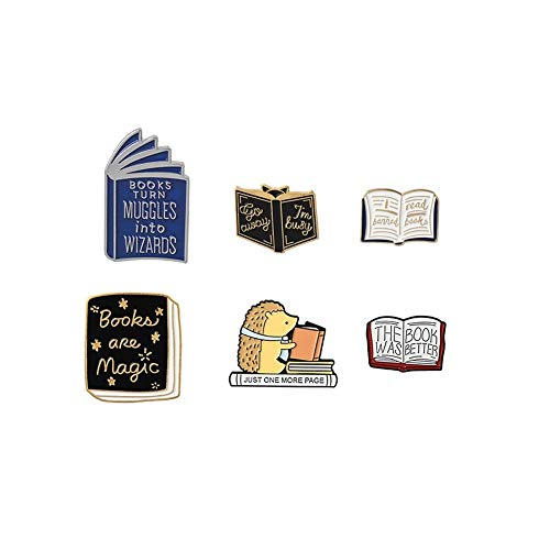 HDCooL 6 Pcs Enamel Pin Sets Cute Cartoon Brooch Needle Set Books Pin Badge Novelty Art Deco Jewellery Label Jacket Collar Backpacks DIY Accessories Gift for Woman and Girls