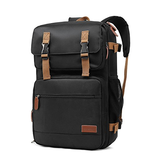 CoolBELL 17,3 Zoll umwandelbar Laptop Rucksack mit USB Anschluss Schulrucksack Mehrzweck Business Messenger Bag / Umhängetasche Travel Backpack Laptop Tasche für Laptop / Macbook / Tablet / Herren / Damen / Uni Studenten(Schwarz) (Messenger Travel Bag)