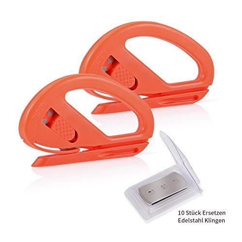Winjun 2 stück Orange Autofolie Werkzeug Folienschneider Sicherheitsschneider Hobbymesser Bastelmesser Brieföffner mit 10 pack Ersatzklingen