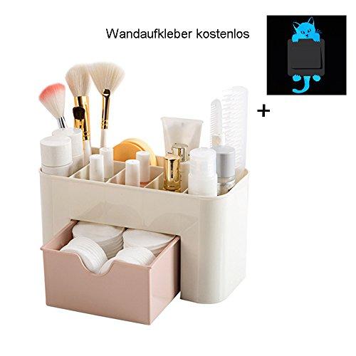 erthome Einsparung Space Schublade Typ Make-up Kit Desktop Kosmetik Organizer Aufbewahrungs box (22*10*10.3 cm, Rosa)