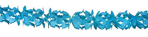 partydiscount24 Papiergirlande Hoku L: 6 m B: 18 cm - Freie Farbwahl + 5 Gratis Luftballons Ø 30 cm (Blau)