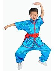 ZOOBOO Kids 'y adultos disfraz de Chino Tradicional Wushu Tai Chi Marciales Artes uniformes, azul