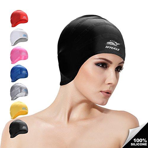 Whale - cuffia da nuoto, in silicone, unisex, impermeabile, perfetta anche per capelli lunghi, nero