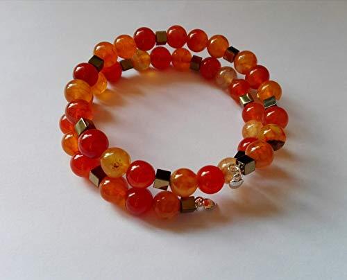 Wickelarmband, Memory Wire Armband, Achat Perlen Orange, Hämatit Würfel Pyrite (Gold), Herzanhänger silber925, (Feste Würfel)