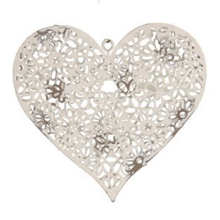 Painted Metal Daisy Heart Decoration - White Shabby Chic -