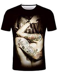 b1c62b417aa waotier Camisetas De Manga Corta para Hombre Moda para Hombre Personalidad  Estampado En 3D Love Element