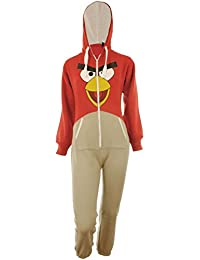 Perry Unisex-Kinder Plain oder Angry Bird Print Kapuzen Overall Onesie