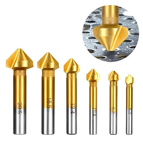 90° Kegelsenker Set, HSS 4241 Senker Sats mit Titan Beschichtete für Holz und Weichem Metall 6 Stück Fasefräser Enthalten Loch Reibahle 6,3–20,5 mm von AOBETAK