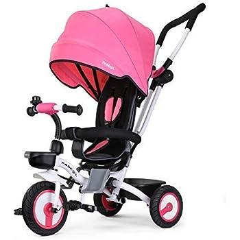Fascol Tricycle Bébé Evolutif Pliable Poussette avec Canne pour Enfant 6 Mois à 5 Ans Vélo et Véchicule, Rose