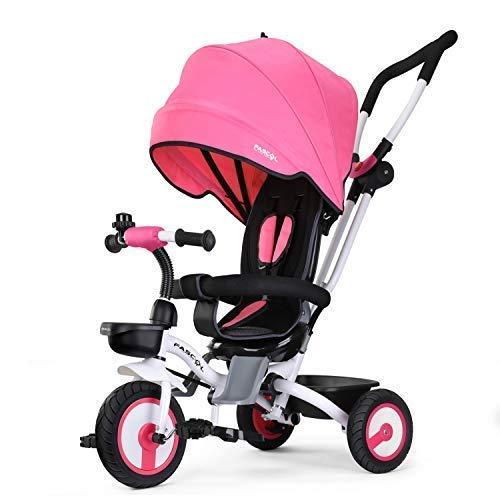 Fascol Baby Dreirad 4 in 1 Klappbar Tricycle Kinderdreirad mit abnehmbarer Sonnendach Schubstange Dreiräder ab 6 Monate bis 5 Jahren, Rosa