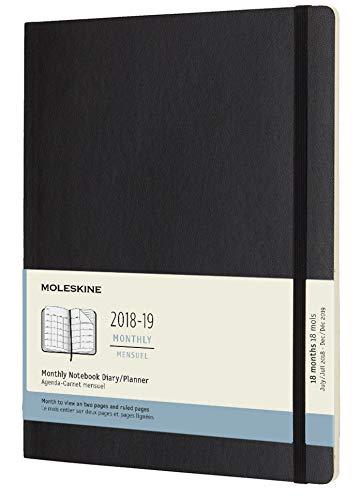 Moleskine 2018 - 2019 agenda mensile 18 mesi, extra large, copertina morbida, nero