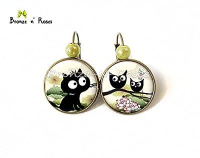 Boucles d'oreilles Petit chat noir et les hiboux bijou cadeau bronze fille dormeuses