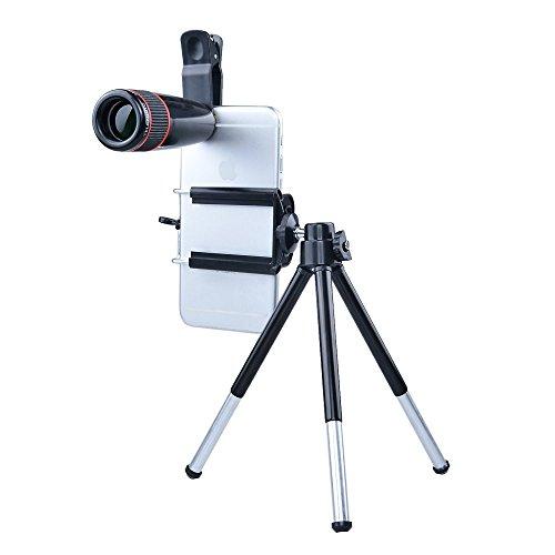 Apexel Playstation Kameraobjektiv-Set 12x Teleobjektiv/Silber Objektiv Fisheye/Weitwinkel/Makro Objektiv mit Mini-Erweiterbar Stativ für Smartphones und Tablets, Schwarz