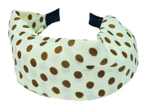 rougecaramel - Serre tête/headband/bandeau large motif pois - ecru