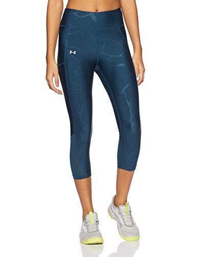Under Armour Damen Fly By Printed Capri, Blau True Ink /Reflective, XL