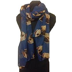 Bufanda Larga de Mujer Color Azul con Diseño de Perros Carlinos Pug - Fashion London