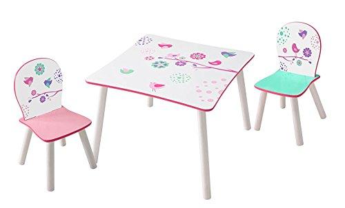 PEGANE Ensemble Table et 2 chaises Enfants en Bois Coloris Blanc Motif Fleurs