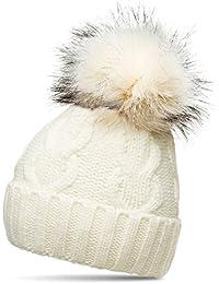 Caspar MU163 Bonnet fourré Hiver pour Femme - Bonnet tricoté avec Torsades  et Gros Pompon en 416837a9c35
