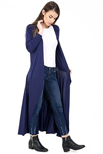 Maillot manches longues à manches longues Maxi Longline Cardigan EUR Taille 36-46 Marine