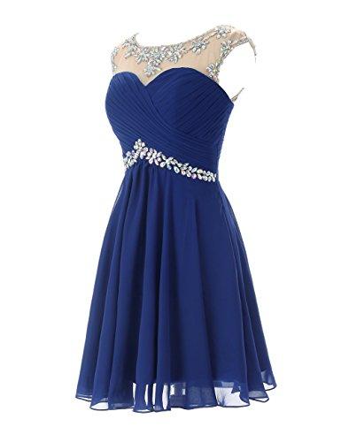 Dresstells A-ligne robe de soirée de cocktail en mousseline courte longueur genou Blush
