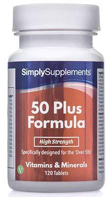 Multivitaminas Fórmula 50 Plus - 120 comprimidos - 4 meses de suministro - Multivitamínico específico para mayores de 50 - SimplySupplements