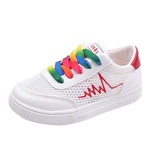 SANFASHION Turnschuhe Jungen Mädchen Sport Schuhe Mode Mesh Atmungsaktiv Kinderschuhe Weiche Outdoor Laufschuhe Sportschuhe Sneaker - Rot Mitte Der Ferse
