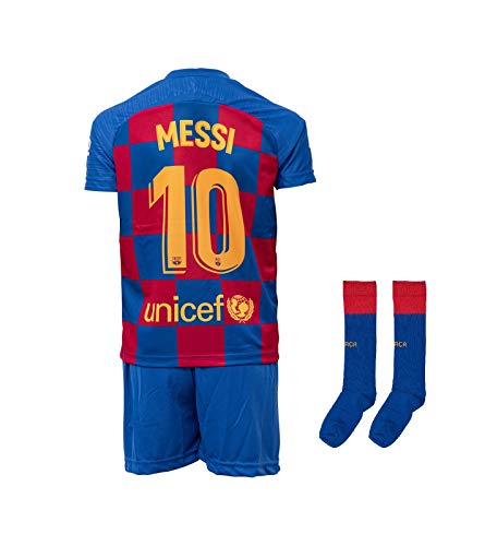 Barcelona #10 Messi 2019-2020 Heim Kinder Fußball Trikot Hose und Socken Kindergrößen