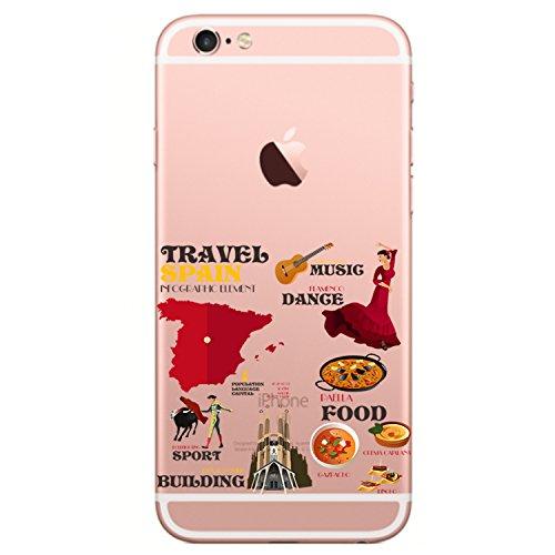 Qissy® TPU Cover iPhone 6 / 6S 4.7 pollici Custodia Bumper Morbida Crystal Clear TPU Silicone blue Elephant 14