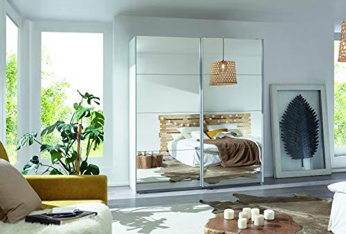 Rauch Kleiderschrank/Schwebetürenschrank Caracas 2-türig. Weiß Alpin mit kompletter Spiegelfront, 6 Einlegeböden, 2 Kleiderstangen, 1 Hakenleiste, Türdämpfer-Set, BxHxT 181x210x62 cm