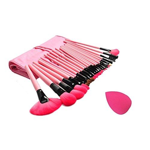 Ouneed® Éponge + 24 PCS pinceaux de maquillage cosmétiques (rose, Autour de 17-21 cm\\