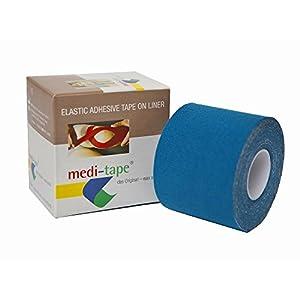 medi-tape, Kinesiologie Tape (5 cm x 4,50 m), in 6 Farben, 100% Baumwolle, fuer Sport und Alltag,Physiotape